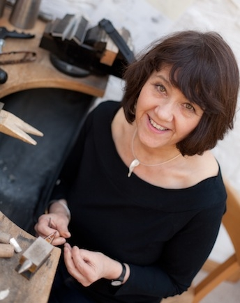 Ann Hume in her  jewellery craft studio